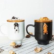 2019 Creative Cartoon 3D Corgi français bouledogue tasses en céramique mignon grande capacité chien tasses étudiant Couple tasse pour ami cadeau tasse