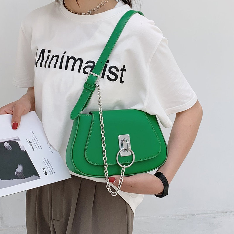 Small Chain Shoulder Bags for Women 2021 New Trend Leather Crossbody Bag Korean Youth Ladies Handbags Simple Green Messenger Bag