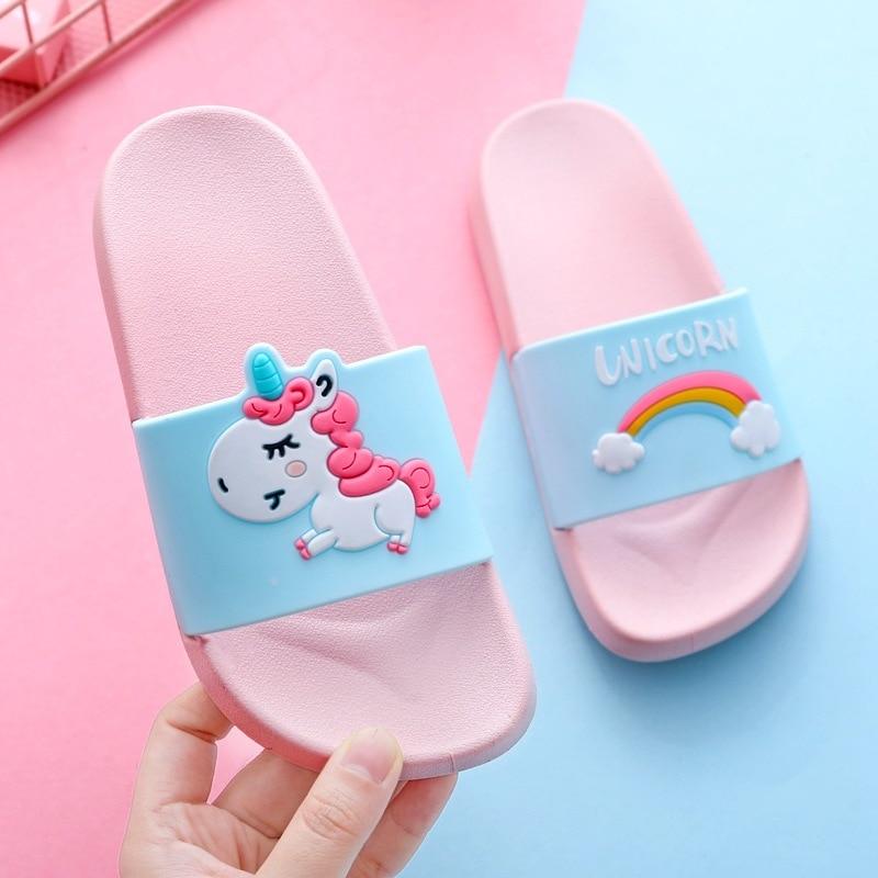 Slippers Kids Summer Girl Home Slippers Boys Flip Flop Children Indoor Cute Sandals Cartoon Unicorn Rainbow Non-slip Beach Shoes