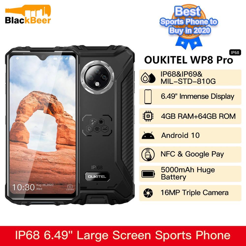 Перейти на Алиэкспресс и купить OUKITEL WP8 Pro 6,49 дюймов мобильный телефон IP68/IP69K прочный водонепроницаемый смартфон Android 10 4 Гб + 64 Гб мобильный телефон 16MP камера 5000 мАч