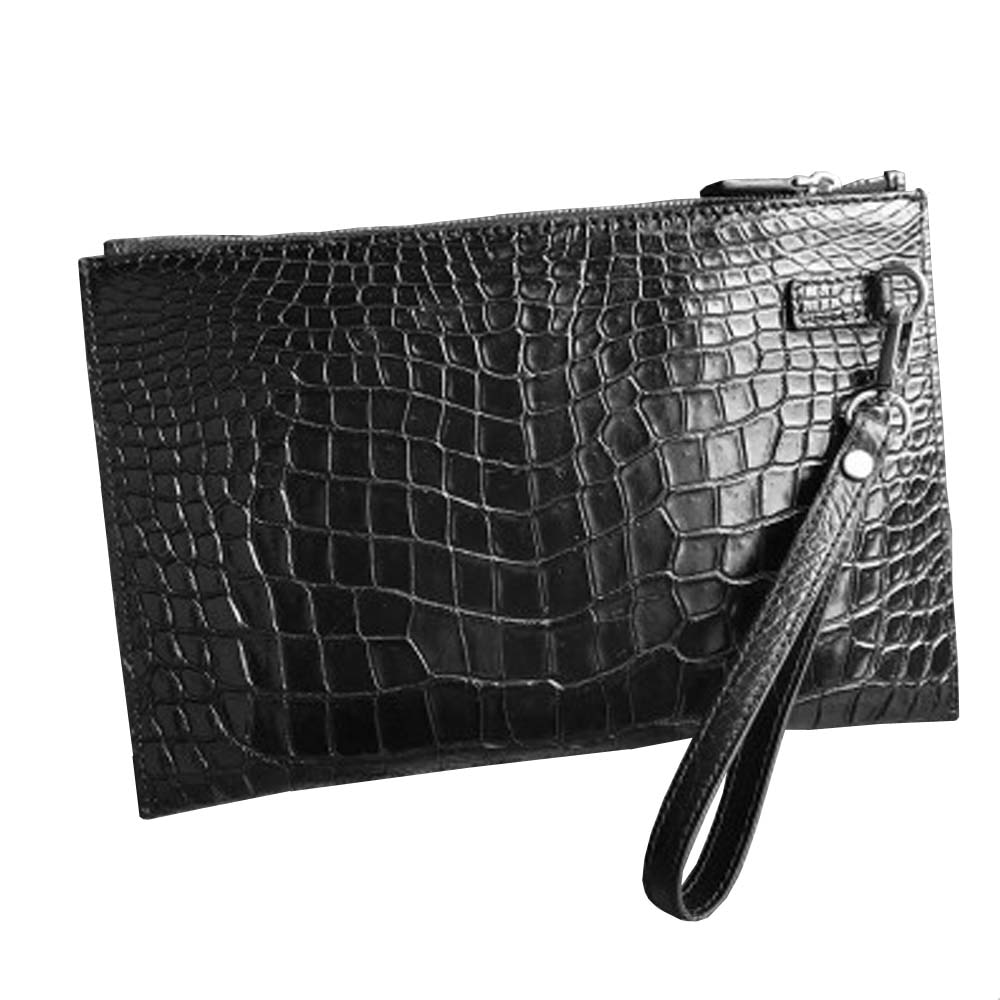 hongsen crocodile leather men clutch bag  thin large capacity  Leisure clip package  male  Hand caught bag man wallet