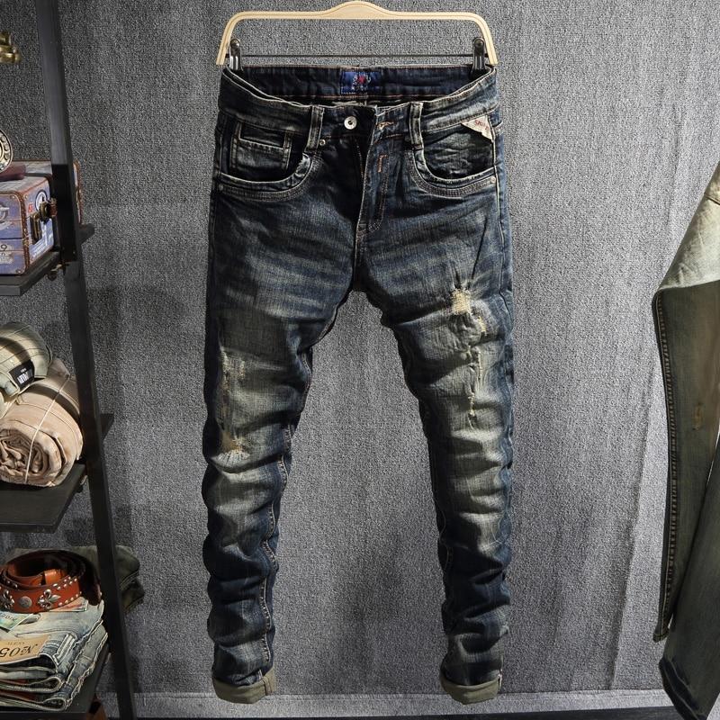 Европейские винтажные модные мужские джинсы в стиле ретро черные синие Эластичные зауженные рваные джинсы мужские потертые Дизайнерские п...