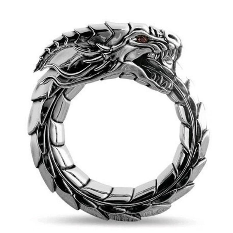 Anillo amuleto mito el Dragón de la mitología noruega hombres anillos Steampunk anillo dragón anillo Retro Hip Hop personalidad anillo joyería