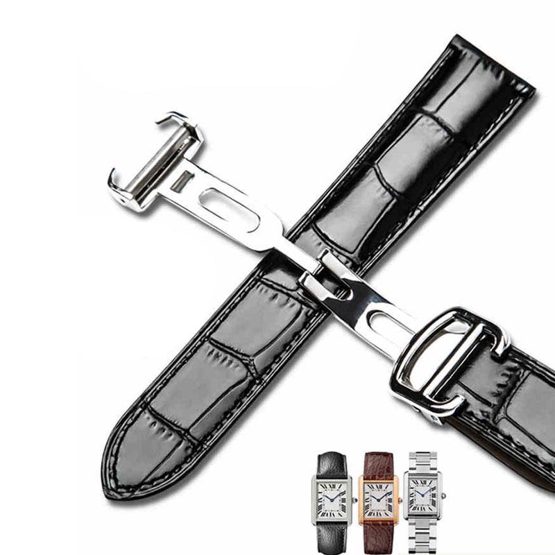 المهنية حزام (استيك) ساعة ل كارتييه خزان روند TORTUE سولو W6700255 جلد طبيعي حزام ساعة اليد 20/22/23/24/25mm سوار الرجال