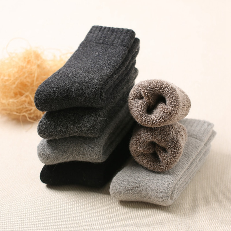 Русские зимние плюшевые теплые носки, мужские толстые шерстяные носки, повседневные носки для снега и холода, мягкие хлопковые мужские носк...