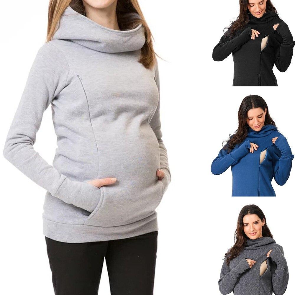 Blusa de maternidad para embarazadas con capucha y mangas largas para amamantar, Sudadera con capucha, informal, blusa de invierno, camiseta M850 #