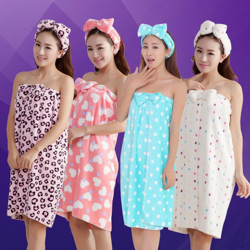 120*75cm feminino sexy wearable absorvente toalha de banho + tampão de cabelo toalha de banho conjunto arco-nó corpo envoltório roupão spa saia para adultos