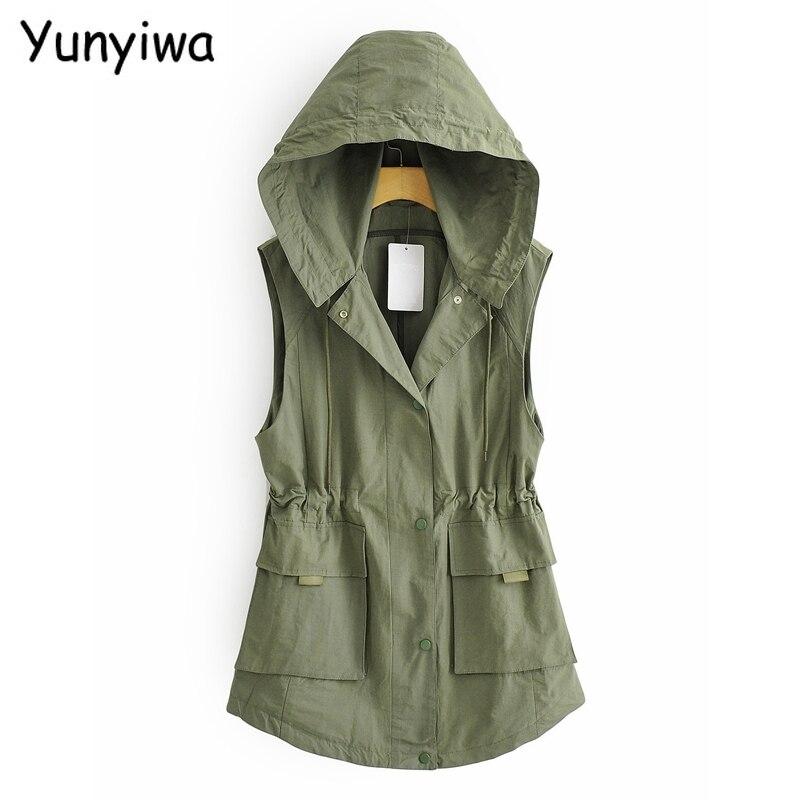 2020 mujeres amy verde chaleco con capucha de gran tamaño chaleco cintura Correa mujer chico amigo estilo casual top YI4