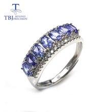 Tanzanite anneaux pierres précieuses naturelles avec 925 en argent sterling style simple romantique petit anneau bijoux fins pour les femmes vêtements quotidiens