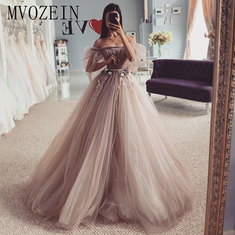 MVOZEIN Evening Dress 2020 Off The Shoulder Long Sleeve Tulle Prom Dress Evening Wear Formal Gowns vestidos de fiesta de noche