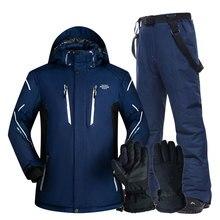 Combinaison de Ski hommes ensembles Super chaud épaissir imperméable coupe-vent hiver neige costumes hommes ensembles hiver Ski et snowboard veste hommes