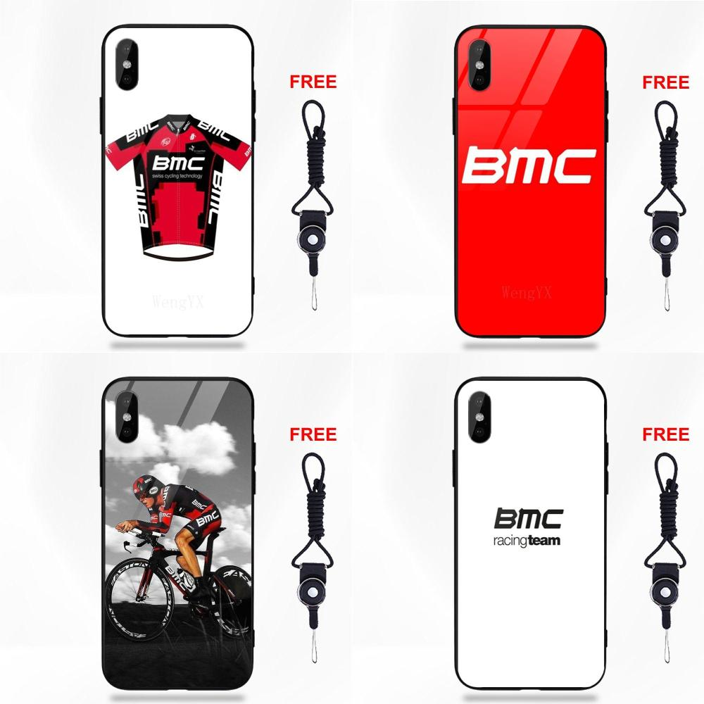 Bmc Racing bicicleta Logotipo de equipo para iPhone X de Apple XS Max XR 5 5C 5S SE 6 6S 7 8 Plus suave TPU de templado de vidrio de patrón