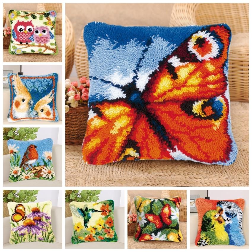 Butterfly Latch Hook Kits Smyrna Knooppakket Cartoon Bird DIY Do It Yourself Cross Stitch Pillows Owl Animal Latch Hook Pillow