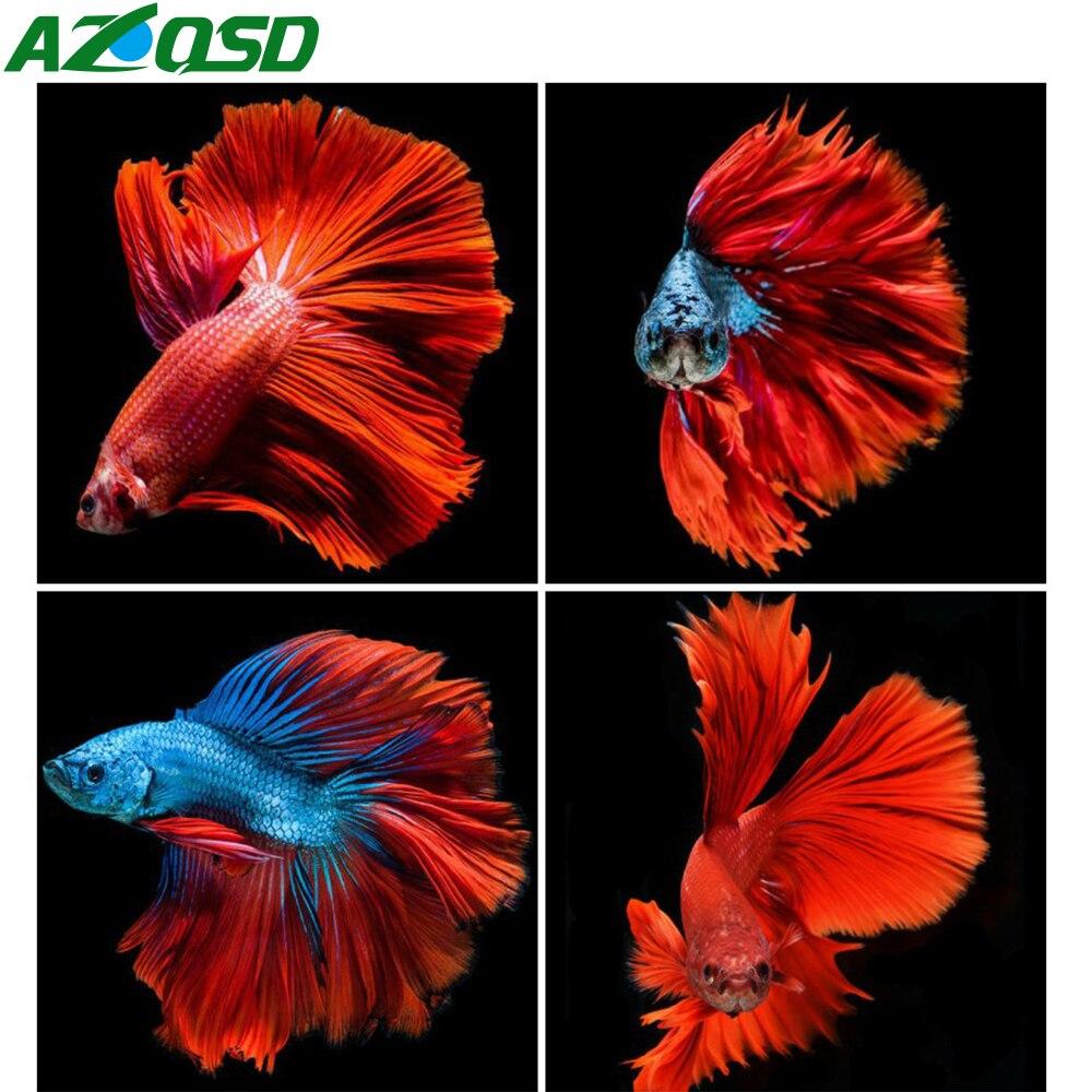 AZQSD Diamant Stickerei rot Fisch Diamant Malerei Voll Bohrer Mosia Tier 5D DIY Handgemachte Dekoration Geschenk Kreuz Stich