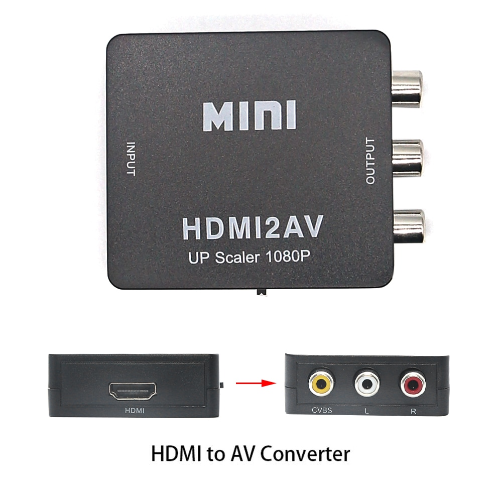 Adaptateur HDMI vers AV convertisseur vidéo HD ScalerHDMI vers RCA AV/CVSB L/R vidéo 1080P HDMI2AV prise en charge NTSC PAL