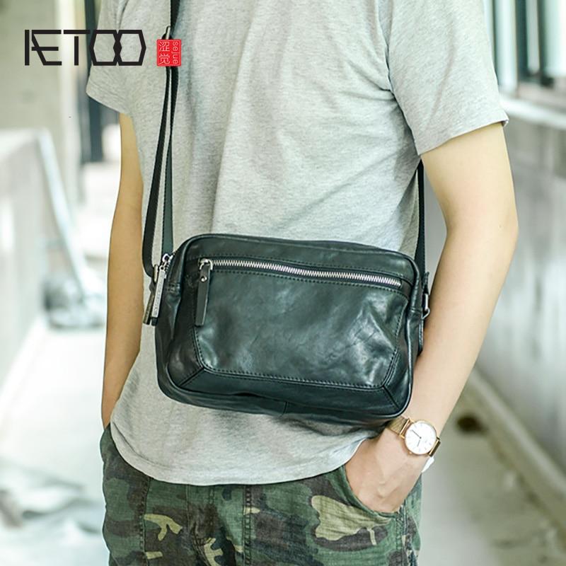 AETOO Mens leather shoulder bag, first layer casual messenger handmade fashion mens bag