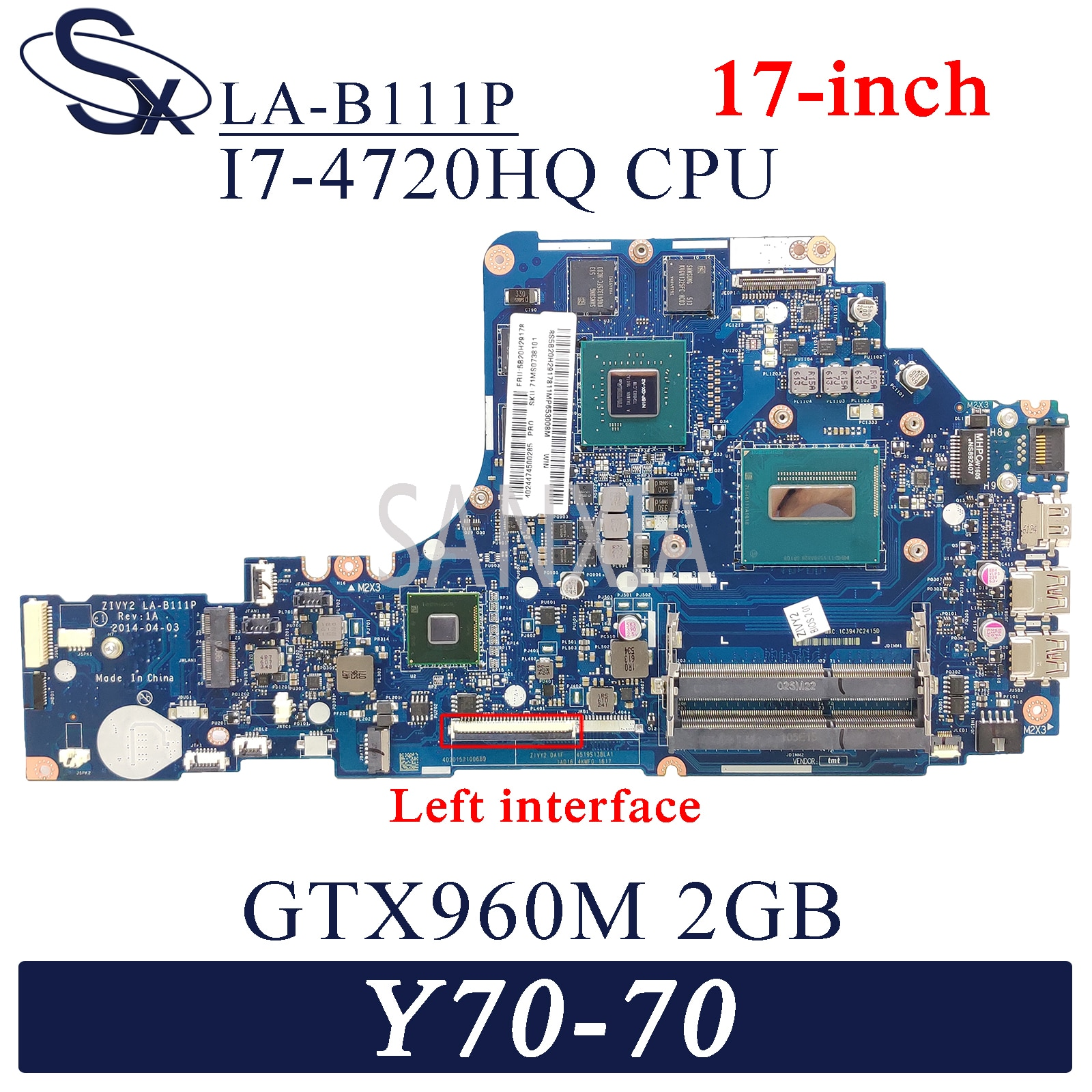 Placa base de ordenador portátil KEFU LA-B111P para Lenovo Y70-70 placa base original de 17 pulgadas I7-4720HQ/4710HQ GTX960M-2GB
