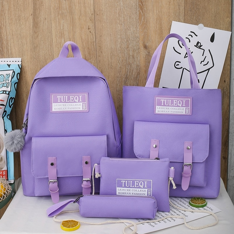 4 Piece Set School Bags Fashion Canvas Women Backpack College Bag For Girls Anti Theft Rucksack Bagp