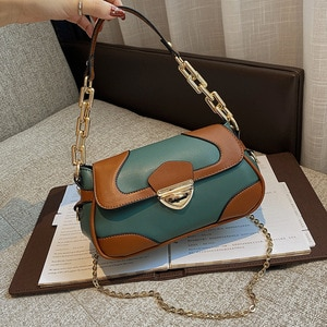 Vintage Patchwork Women Shoulder Bags 2020 Fashion Purses And Handbags Luxury Designer Small Underarm Bags Casual Messenger Bag