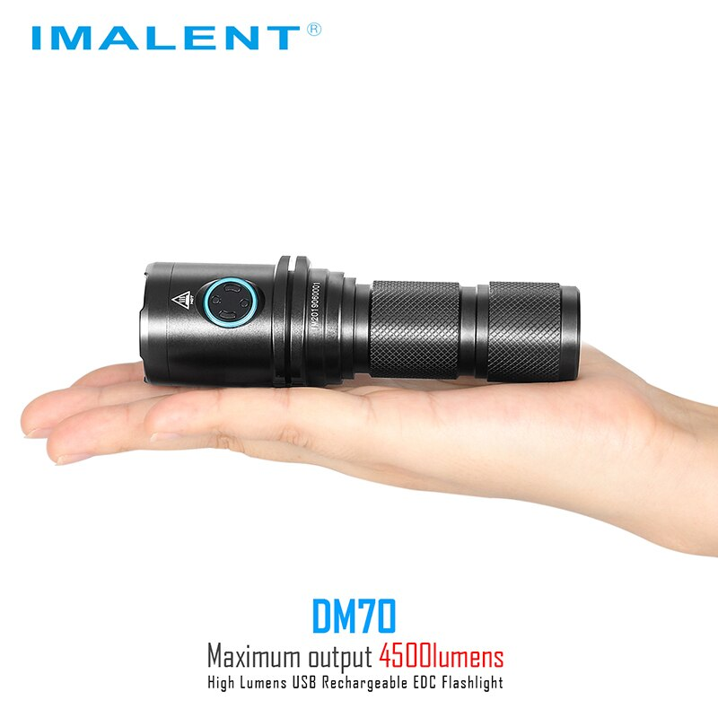 IMALENT DM70 Flashlight Rechargeable Powerful 4500 Lumens Protable Led Flashlight  Cree XHP70.2 with 21700 Battery Camping