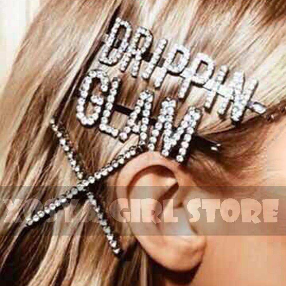 Letra coreana Simple mujeres horquillas Boss,Sexy, chicas palabras Sterling Silver incrustado Full Drill para niñas accesorios para el cabello FD18