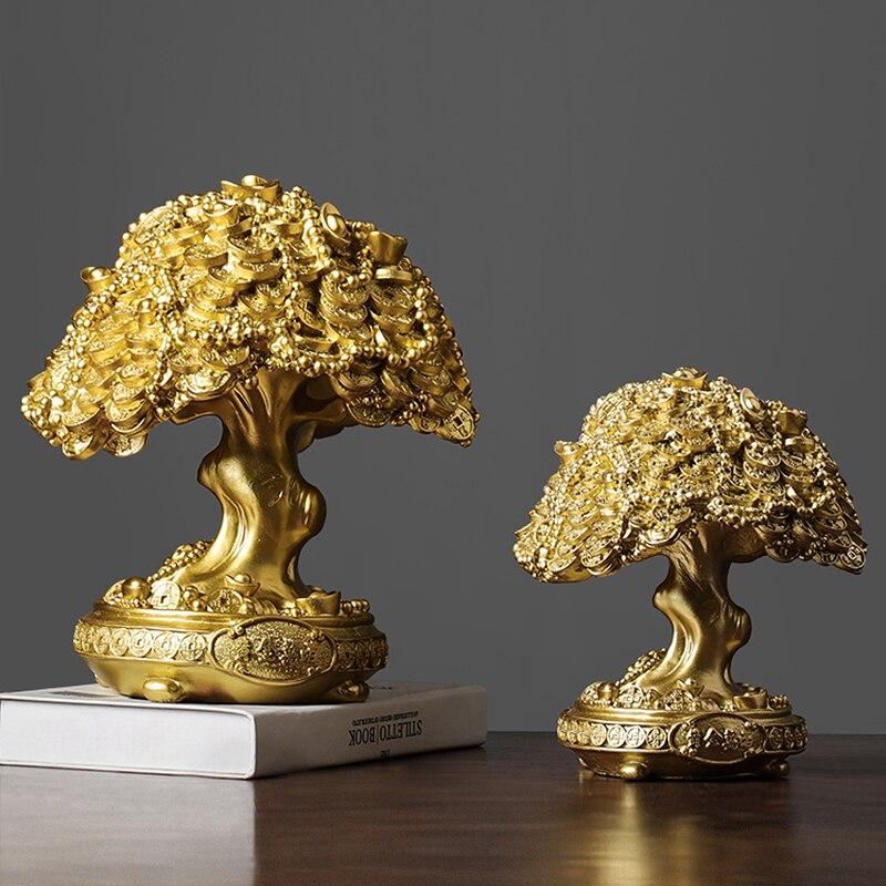 Lucky Tree Escultura Casa Estátua Resina Dinheiro Árvore Artesanato Gabinete Mobiliário Lembrança Decorações