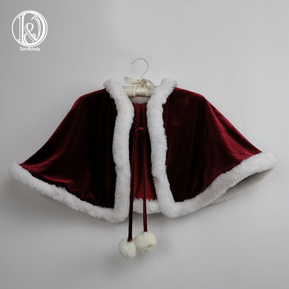 Don&Judy Red Cape Christmas Costume Photo Prop for 4-8 Years Old Girls Photography Shoot Winter Daily Party Kids Dress Up enlarge