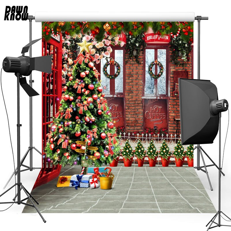 DAWNKNOW Christmas Tree Vinyl Photography Background For Baby Gift Flower Photo Shoot Backdrop For Christmas Photo Studio L846