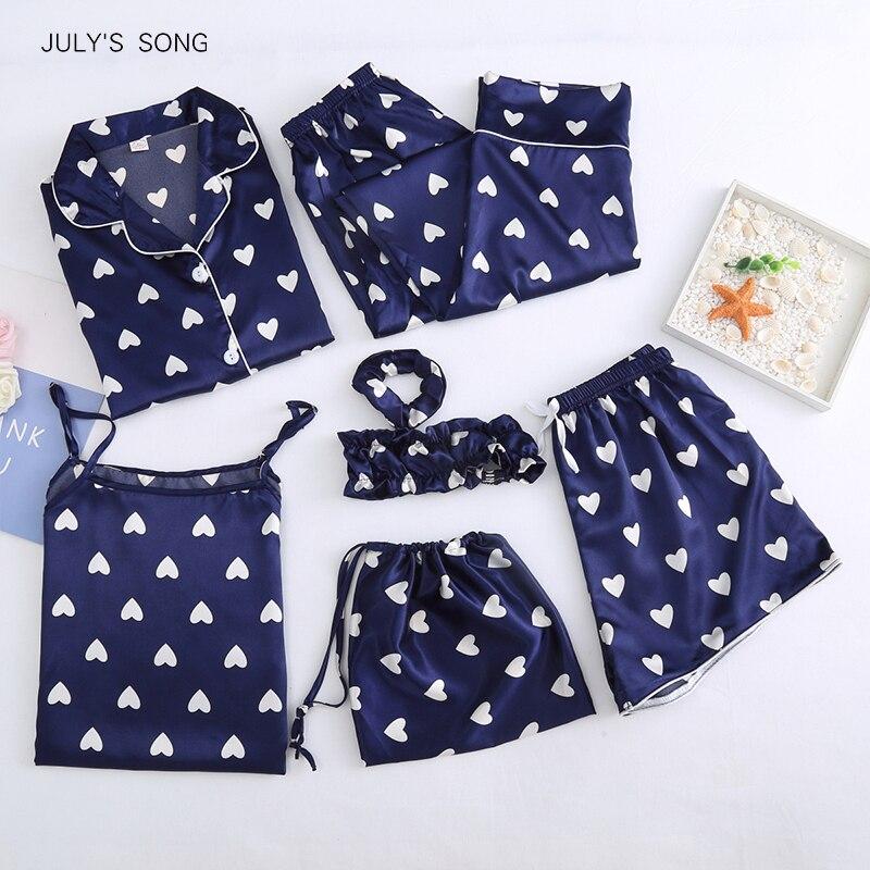 JULY'S SONG 7 قطعة الحرير فو بيجامة من الساتان المرأة أنيقة مطبوعة الترفيه Homewear 2020 الربيع الصيف طويلة الأكمام الإناث ملابس خاصة