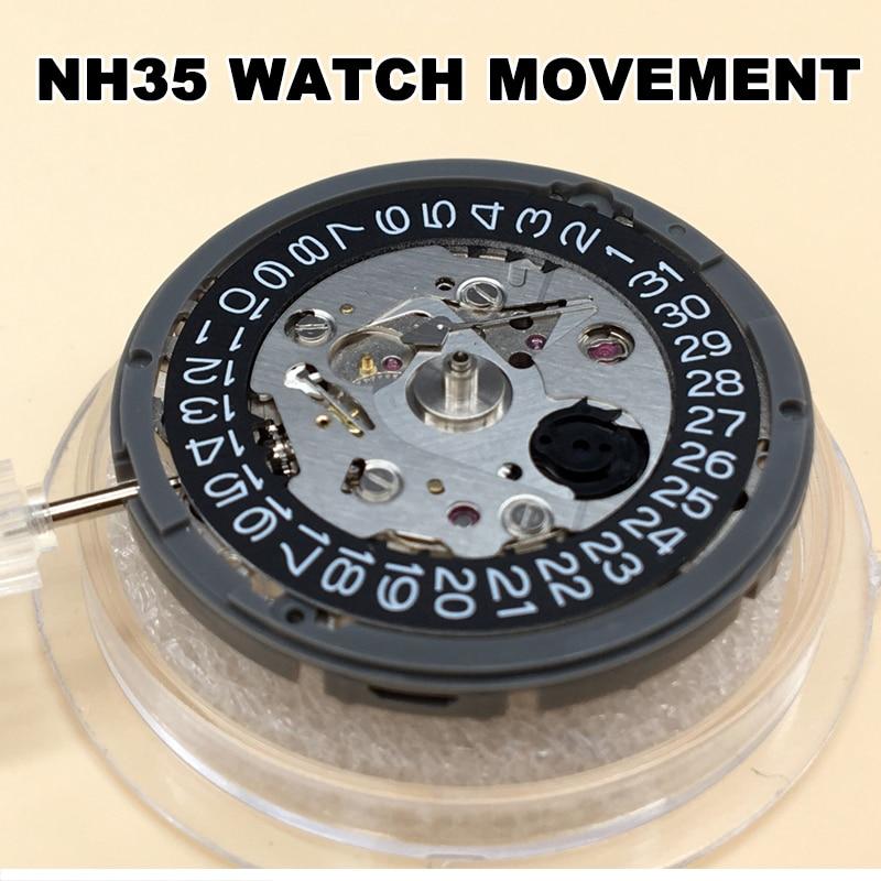 اليابان الأصلي NH35 NH35A الحركة الميكانيكية 24 جواهر مع الأسود dateبعجلات دقة التلقائي الذاتي لف Movt استبدال