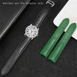 Lichee Pattern Leather Strap 17 20 22 23 25mm Black Green Watchband Adaptation For Tank Solo Cow Leather Watch Chain