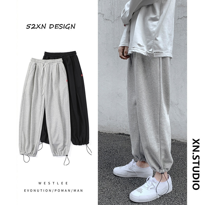 Весна, лето и осень, новые стильные мужские брюки, облегающие брюки с кулиской, мужские популярные спортивные и удобные брюки