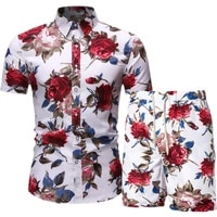 mens hawaii sets 2021 summer male beach wear floral print two piece sets men casual shirt and shorts for holiday clothes