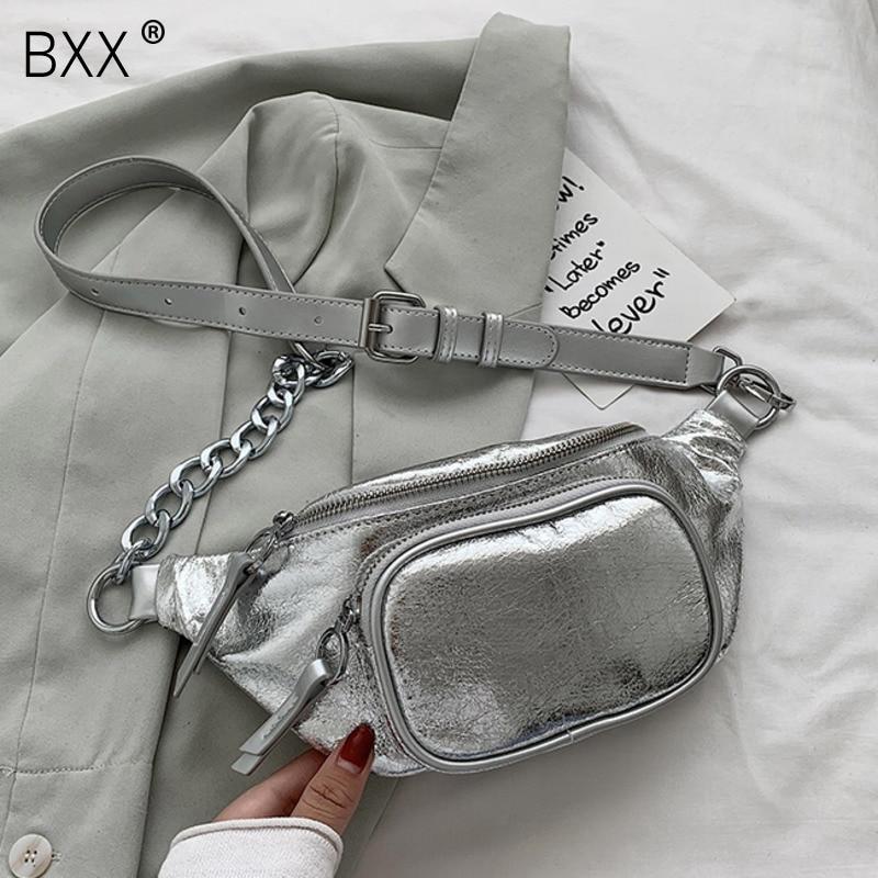 [BXX] Chain PU Leather Crossbody Bags For Women 2021 Summer Shoulder Handbags Female Travel Lady Luxury Cross Body Bag HN548