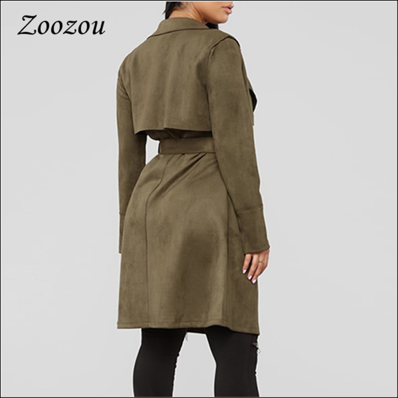 Loose Tie Belt Suede Leather Trench Coat 2020 Winter Casual Pockets Warm Outerwear Female Army Green Ladies Long Jackets Custom enlarge