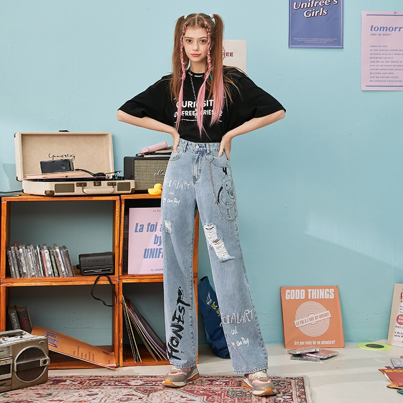 UNIFREE-Broken Cave Jeans Women 2021 Spring and Summer New INS Trend Skinny Loose Founded Casual Leisure