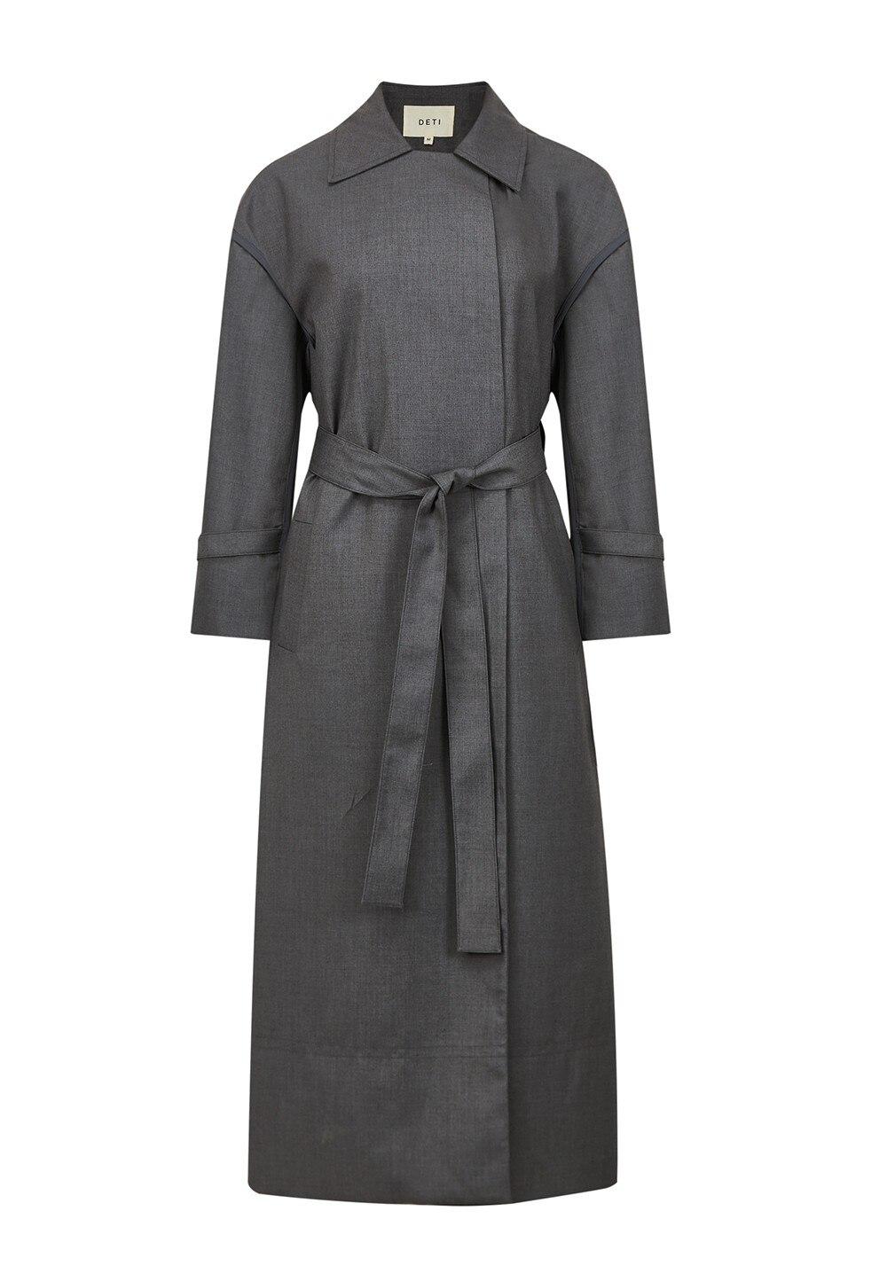طية صدر السترة طويلة الأكمام التفاف معطف خندق مع حزام