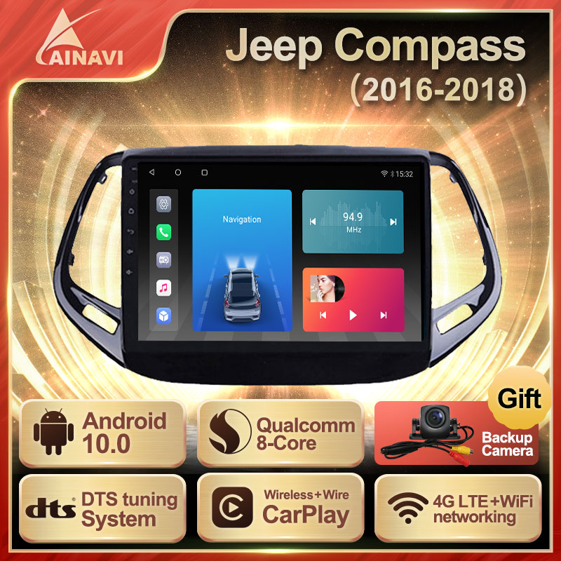 Car Radio Android 10.0 QLED Screen For Jeep Compass 2017-2018 Auto Stereo Multimedia Video Player Navigation GPS Carplay No 2din