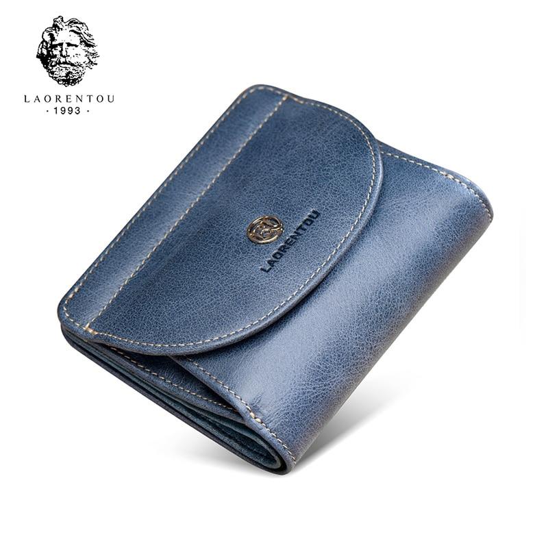 LAORENTOU Women's Wallets Genuine Leather Standard Card Holder Clutch Wallets Fashion Zipper Purse