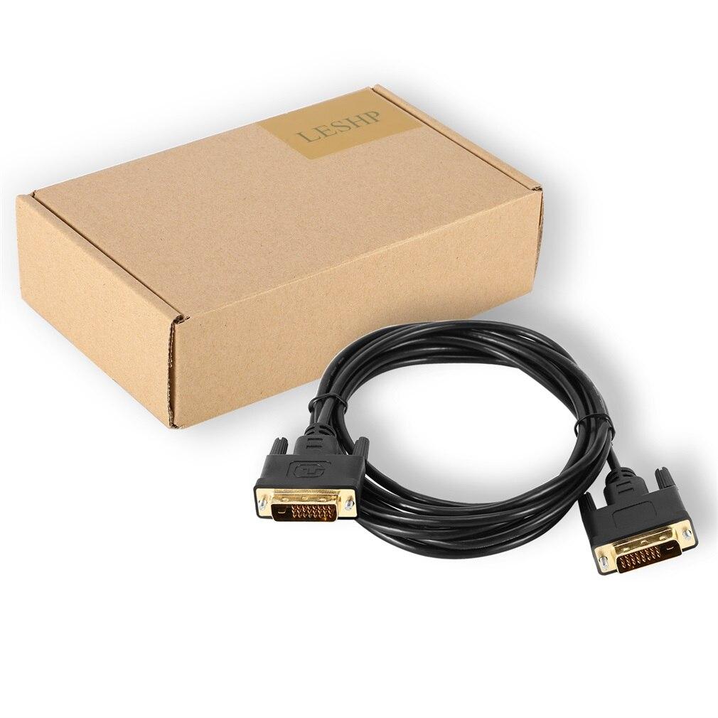Negro, 2/3 metros, duradero, portátil, alta resolución, chapado en oro, Delgado DVI a DVI, Cable de Monitor de vídeo Digital de enlace único