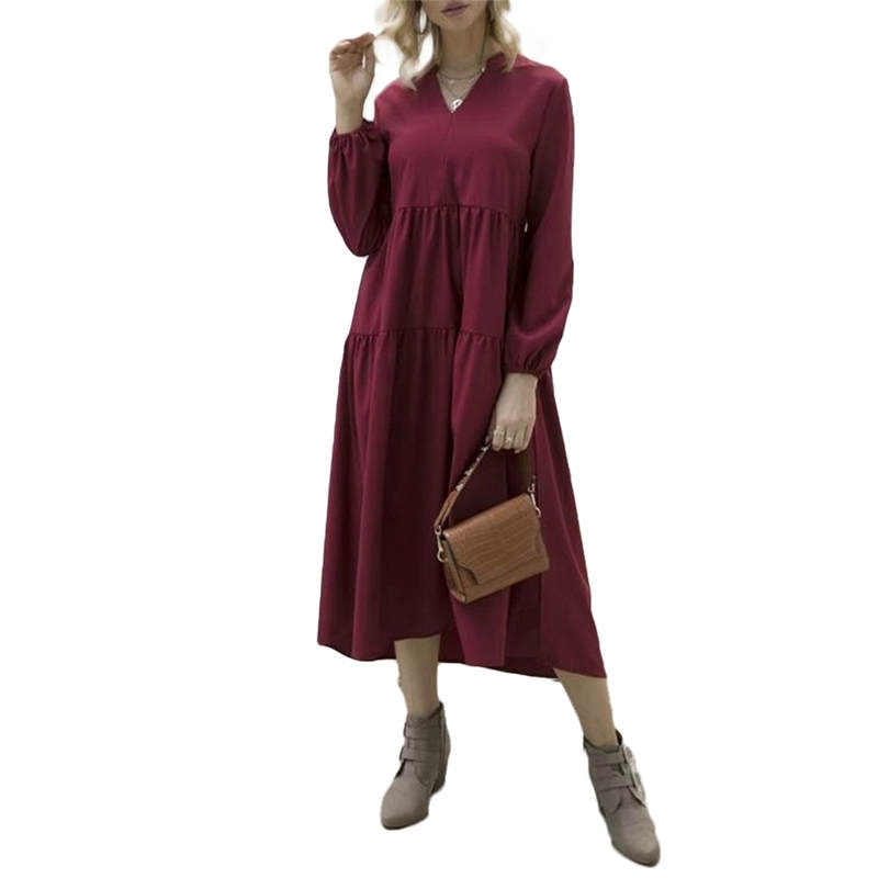 Women's Autumn V-neck Long Sleeve  Ruffle Frill Smock Dress Ladies Female Holiday Beach Casual Loose Long Shirt Sundress