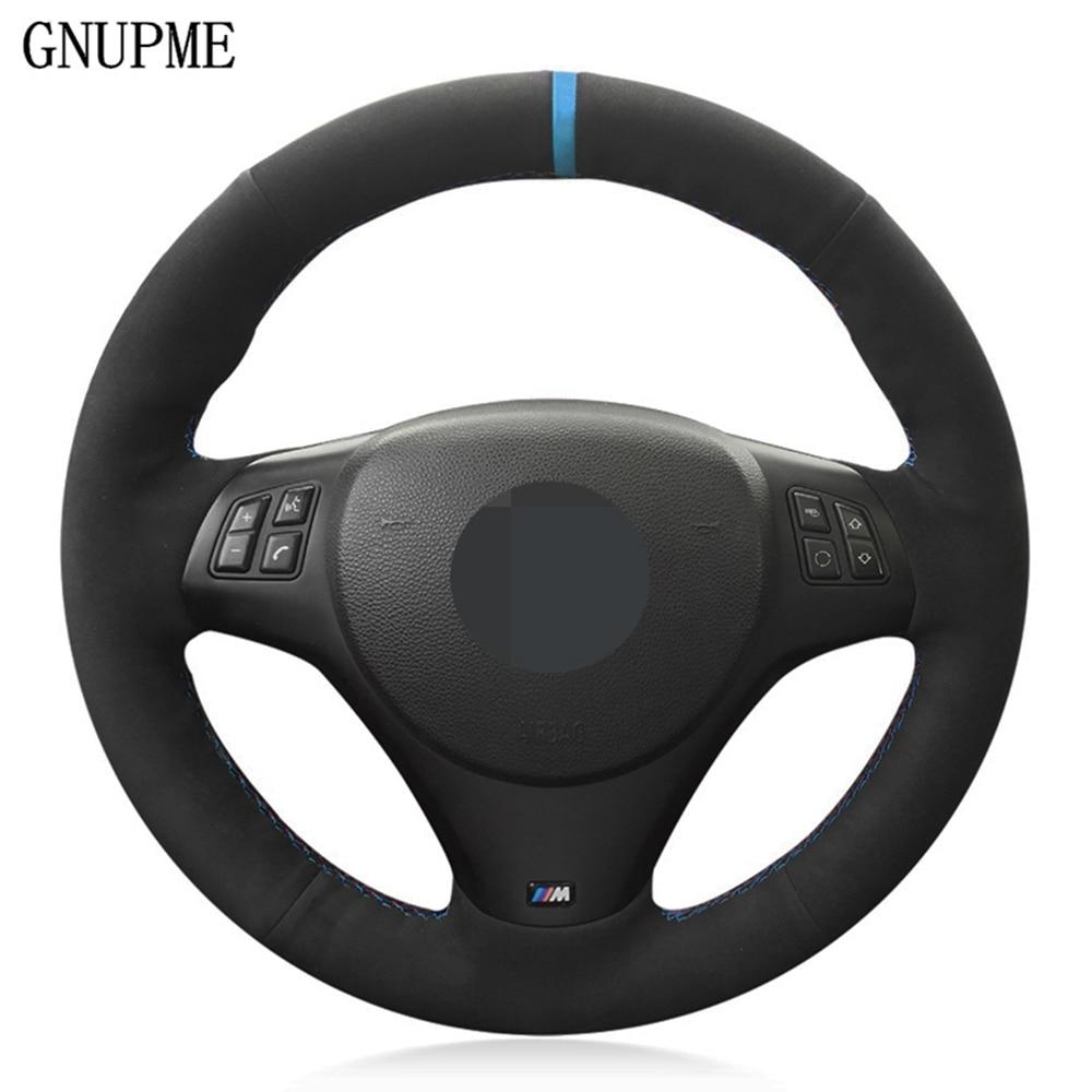 DIY اليد مخيط الأسود الجلد المدبوغ عجلة توجيه سيارة غطاء ل BMW M الرياضة M3 E90 E91 E92 E93 E87 E81 E82 E88 X1 E84