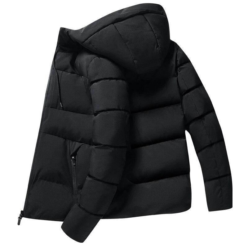 Мужской утепленный пуховик с капюшоном, молодежная зимняя хлопковая куртка для отдыха, мужская мода