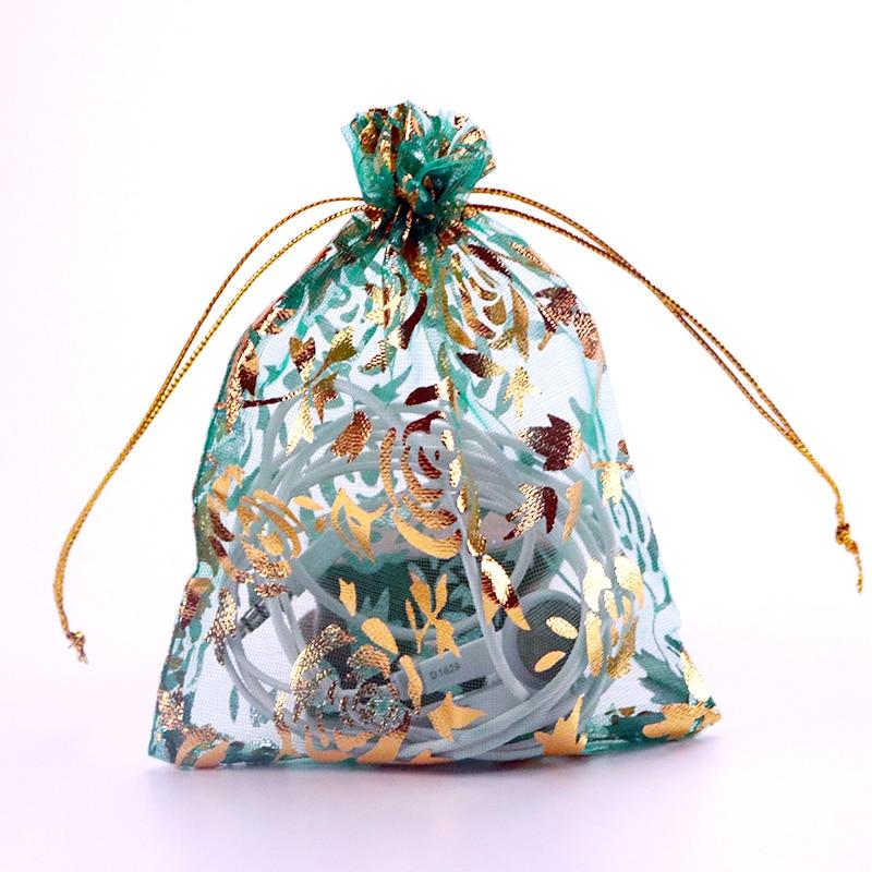 50 unids/lote bolsa de embalaje para joyería con estampado de rosas de 7x9 Cm para el Día de San Valentín bolsas cosméticas de Organza para azúcar bolsas de lazo de regalo para fiestas