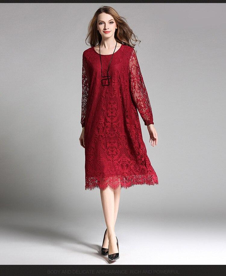 Vestido de manga larga de encaje para mujer de ropa de talla...