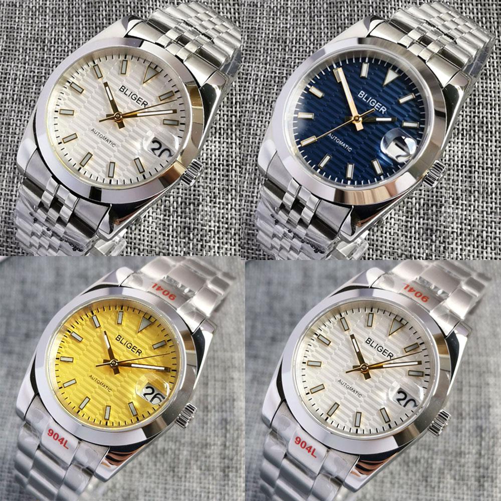 BLIGER التلقائي الرجال ساعة NH35A حركة 36 مللي متر/39 مللي متر البولندية حالة الأعمال ساعة اليد مضيئة مؤشر الأصفر الهاتفي الزجاج الخلفي