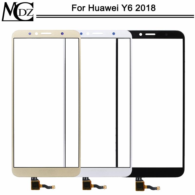 Nuevo Y6 2018 Panel táctil para Huawei Y6 2018 pantalla táctil del teléfono Panel de lente de vidrio del Sensor frontal