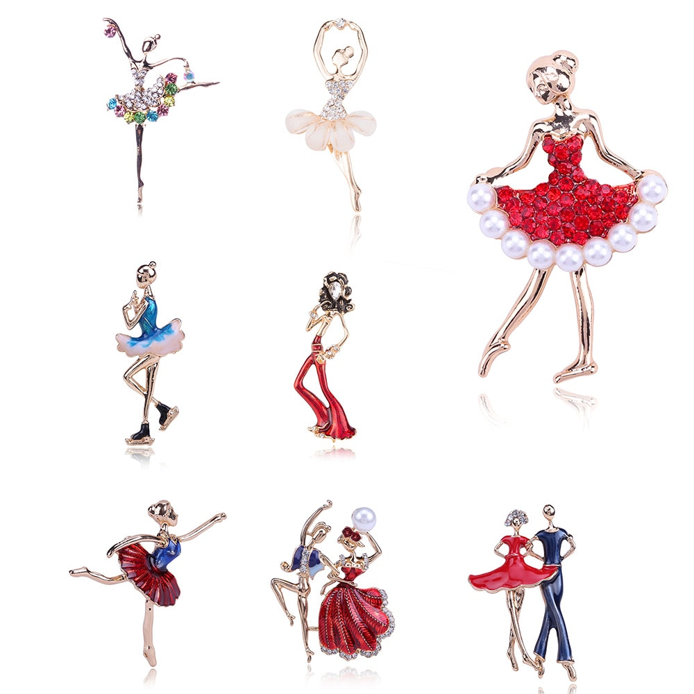 Exquisite Crystals Brooches Red Rose Gold Pretty Flower Skirt Pearl Ballet Dancer Ballerinas Brooch Women Girls Gift Pins Broach