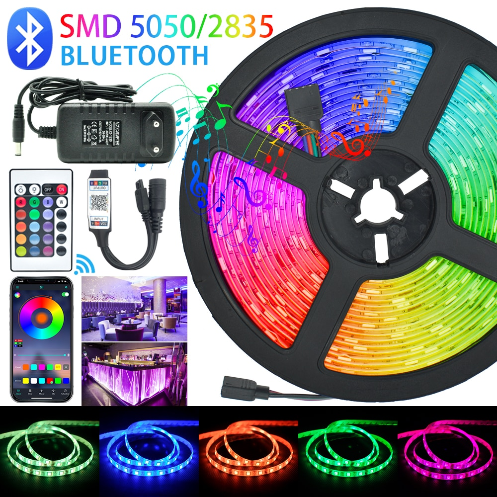 LED Strips Lights Bluetooth Luces Led RGB 5050 SMD 2835 Flexible Waterproof Tape Diode 5M 10M 15M DC