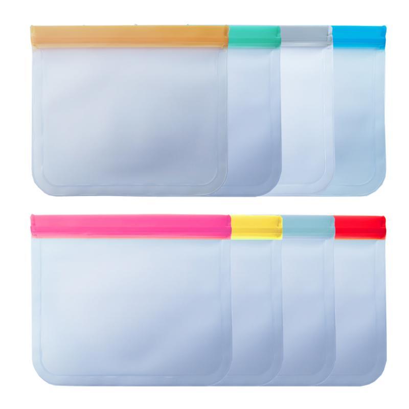 8 colores reutilizables modelos de silicón bolsa de almacenamiento de alimentos bolsa de congelador bolsa de almuerzo de fruta translúcida esmerilada bolsa de almacenamiento de alimentos PEVA